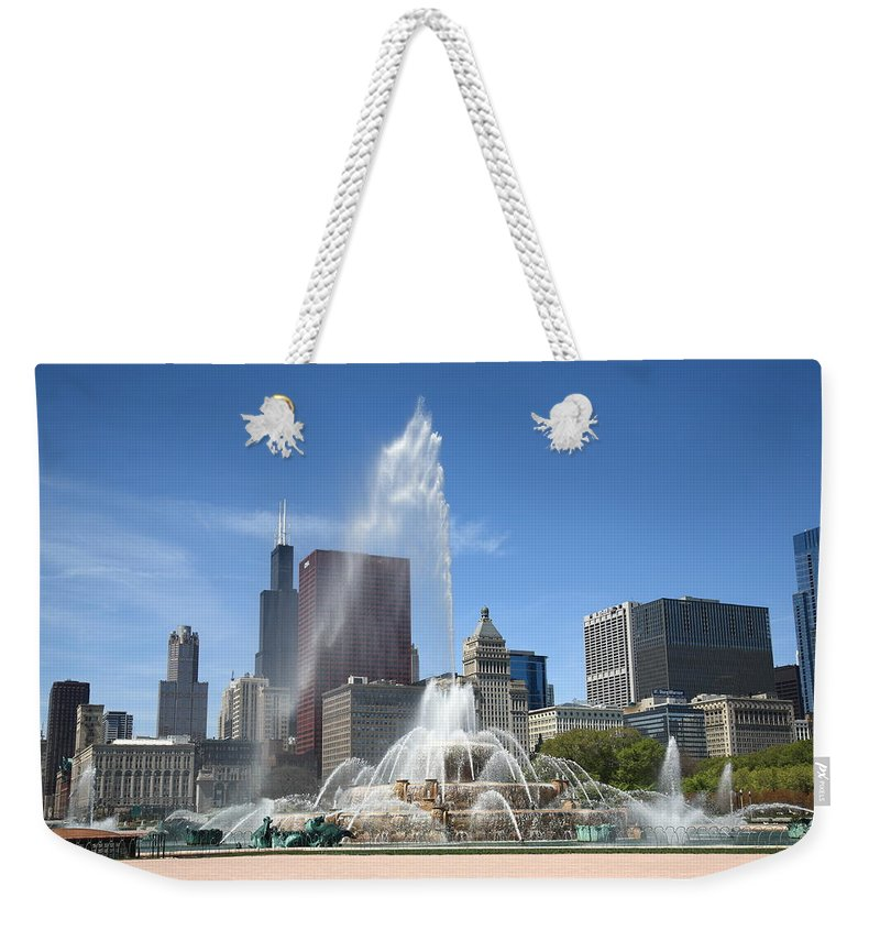 America Weekender Tote Bag featuring the photograph Chicago Skyline And Buckingham Fountain by Frank Romeo