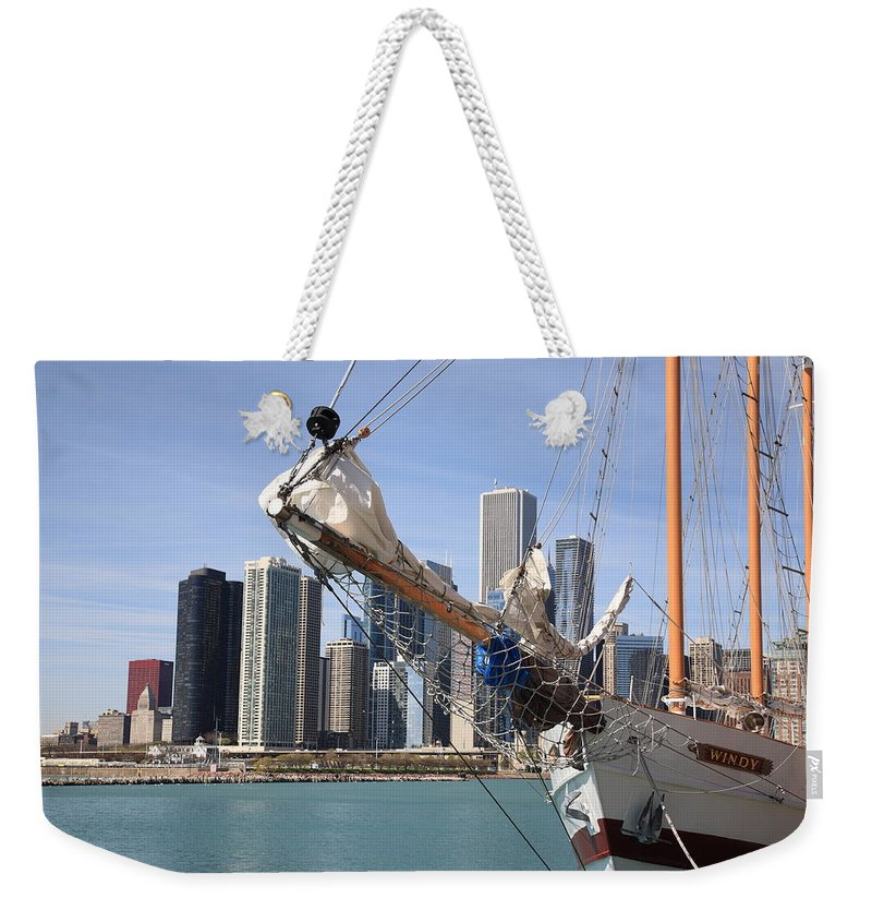 America Weekender Tote Bag featuring the photograph Chicago Skyline And Tall Ship by Frank Romeo