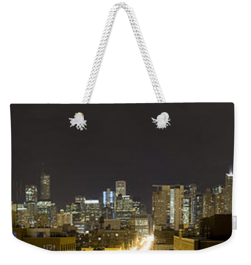 City Sky Skyline Wind Windy Windycity Il Chicago Night Dark Light Lights Street Building Tall House Weekender Tote Bag featuring the photograph Chicago Skyline by Andrei Shliakhau