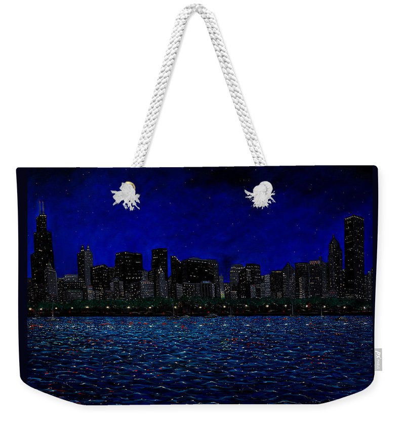 Chicago At Night Weekender Tote Bag featuring the painting Chicago Skyline by Joe Michelli