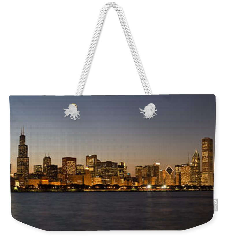 Chicago Weekender Tote Bag featuring the photograph Chicago Skyline Panorama by Steve Gadomski