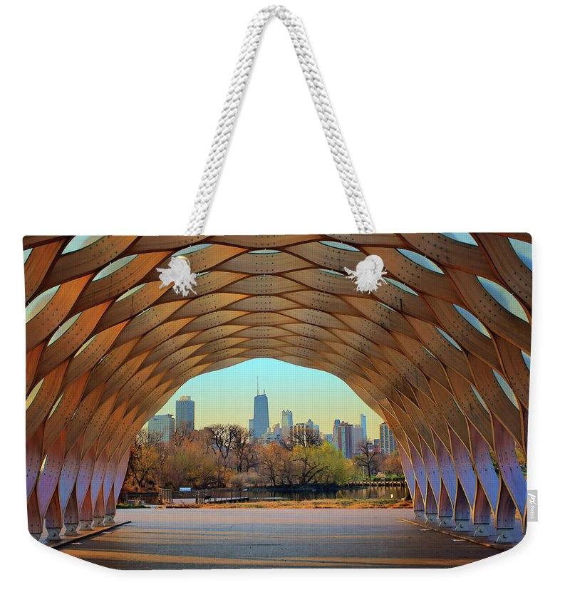 Chicago Skyline Weekender Tote Bag featuring the photograph Chicago Skyline - South Pond Pavilion by Nikolyn McDonald