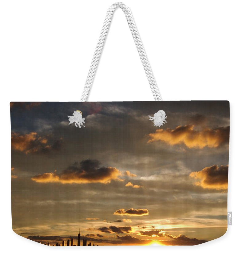 Boat Weekender Tote Bag featuring the photograph Chicago Skyline Sunset by Steve Gadomski
