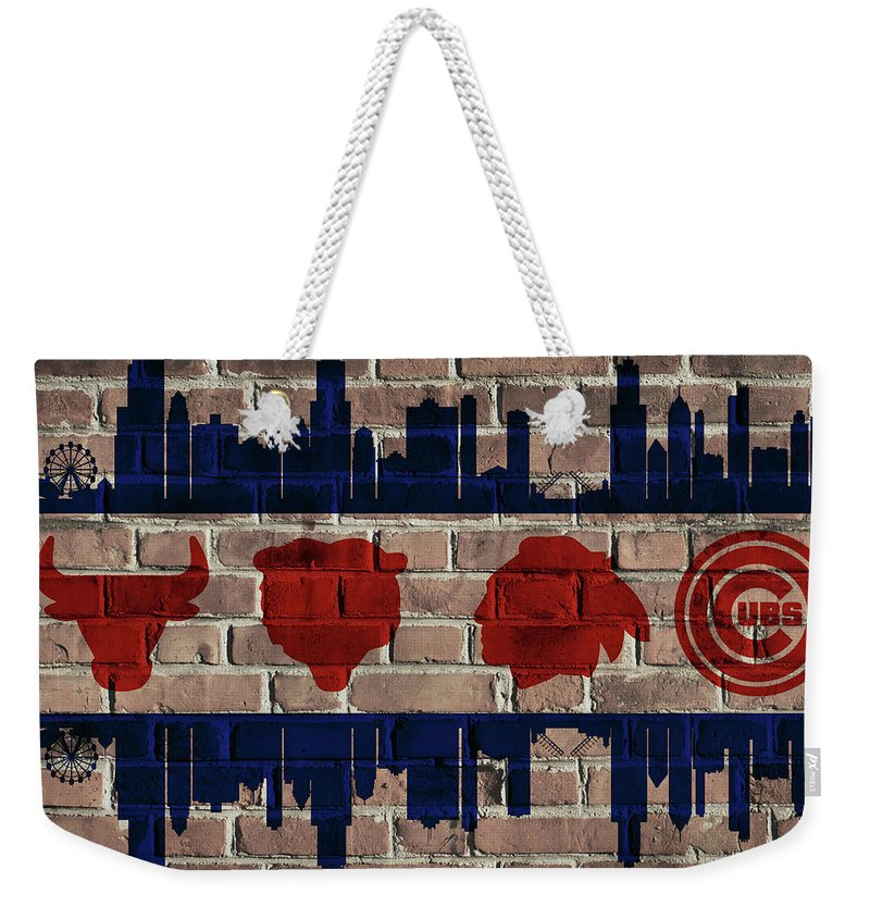 Chicago Sports Flag Weekender Tote Bag featuring the mixed media Chicago Sports Team Flag On Brick by Dan Sproul