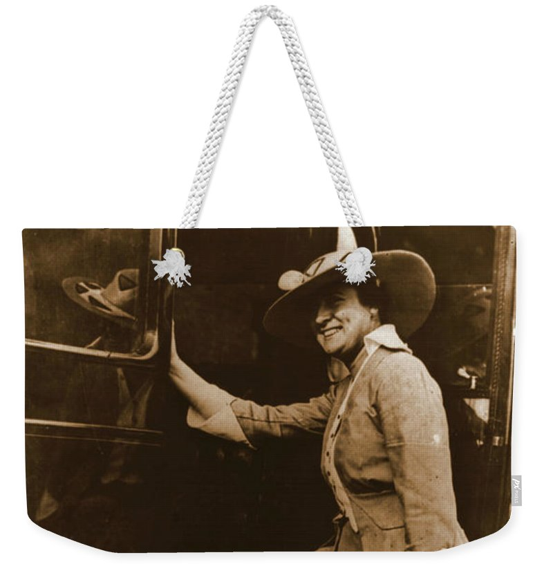 Chicago Suffragette Marching Costume Weekender Tote Bag featuring the photograph Chicago Suffragette Marching Costume by Padre Art