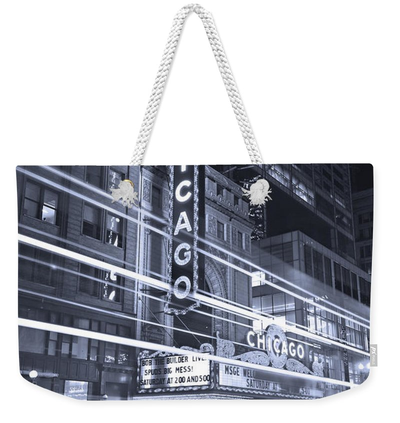 Chicago Weekender Tote Bag featuring the photograph Chicago Theater Marquee B And W by Steve Gadomski