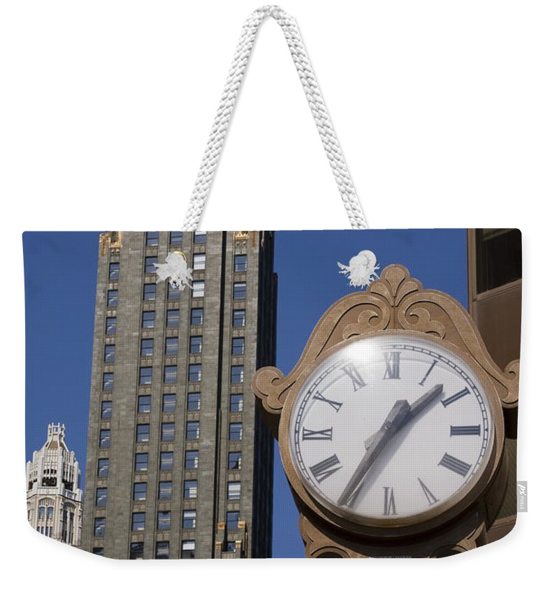 Chicago City Windy Wind Blue Sky Clock Time Building Tall High Big Gold Sun Sunny Metro Urban Weekender Tote Bag featuring the photograph Chicago Time by Andrei Shliakhau