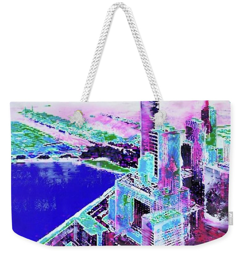 Mixed Media Weekender Tote Bag featuring the mixed media Chicago View by Nica Art Studio