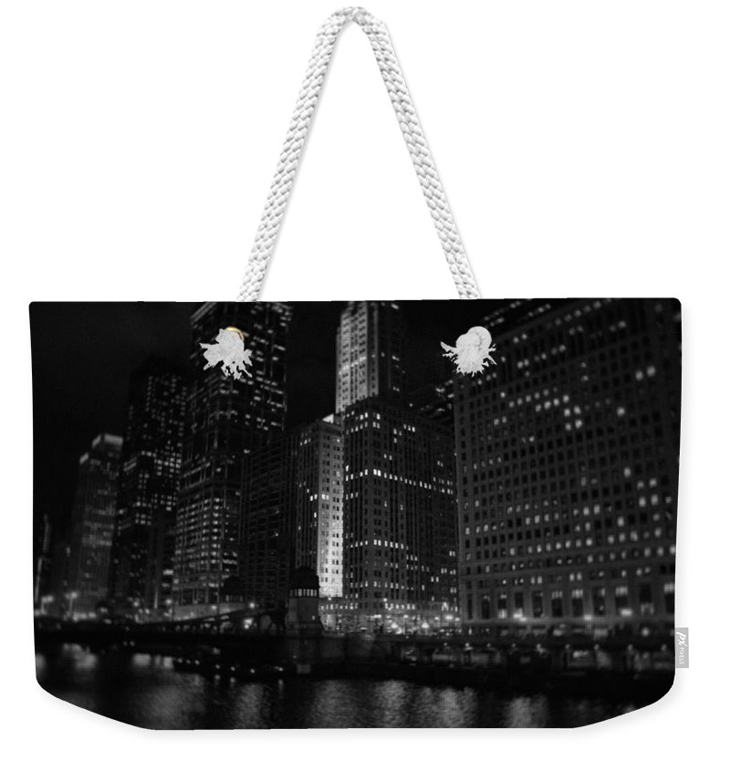 Chicago Weekender Tote Bag featuring the photograph Chicago Wacker Drive Night by Kyle Hanson