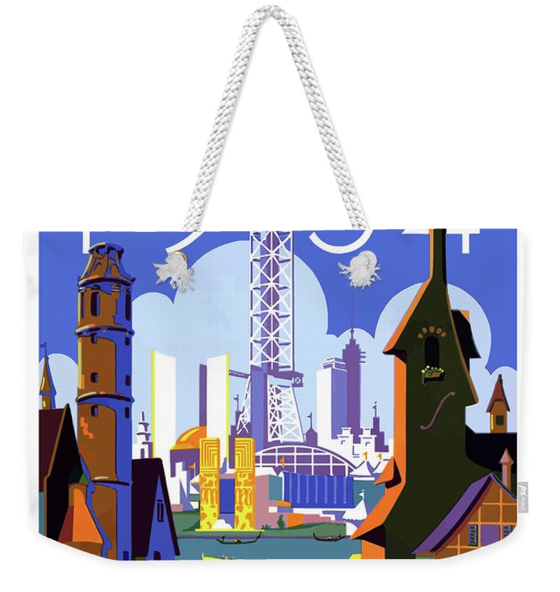 Chicago Weekender Tote Bag featuring the painting Chicago, World Fair, Vintage Travel Poster by Long Shot
