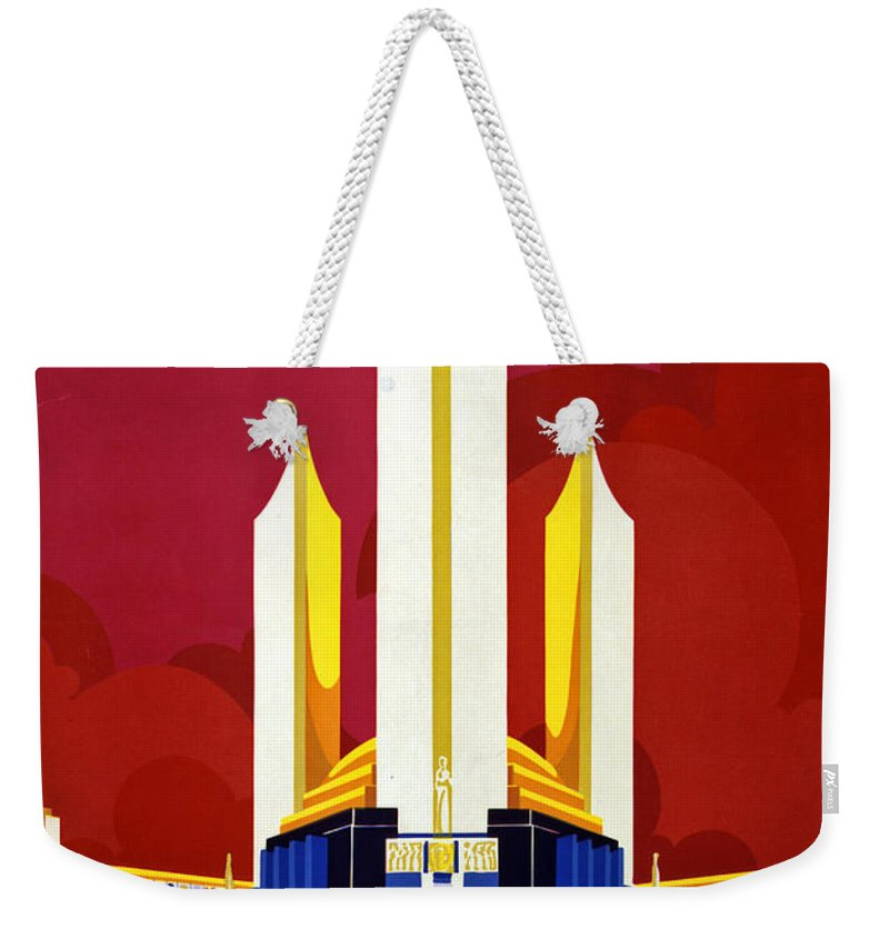 Chicago Weekender Tote Bag featuring the painting Chicago, World's Fair, Vintage Travel Poster by Long Shot