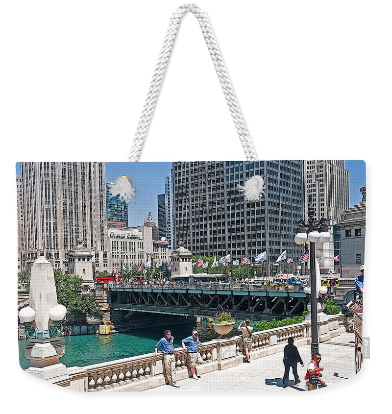 Chicago Street View Weekender Tote Bag featuring the photograph Chicago's Dusable Bridge On N. Michigan Avenue by Ginger Wakem