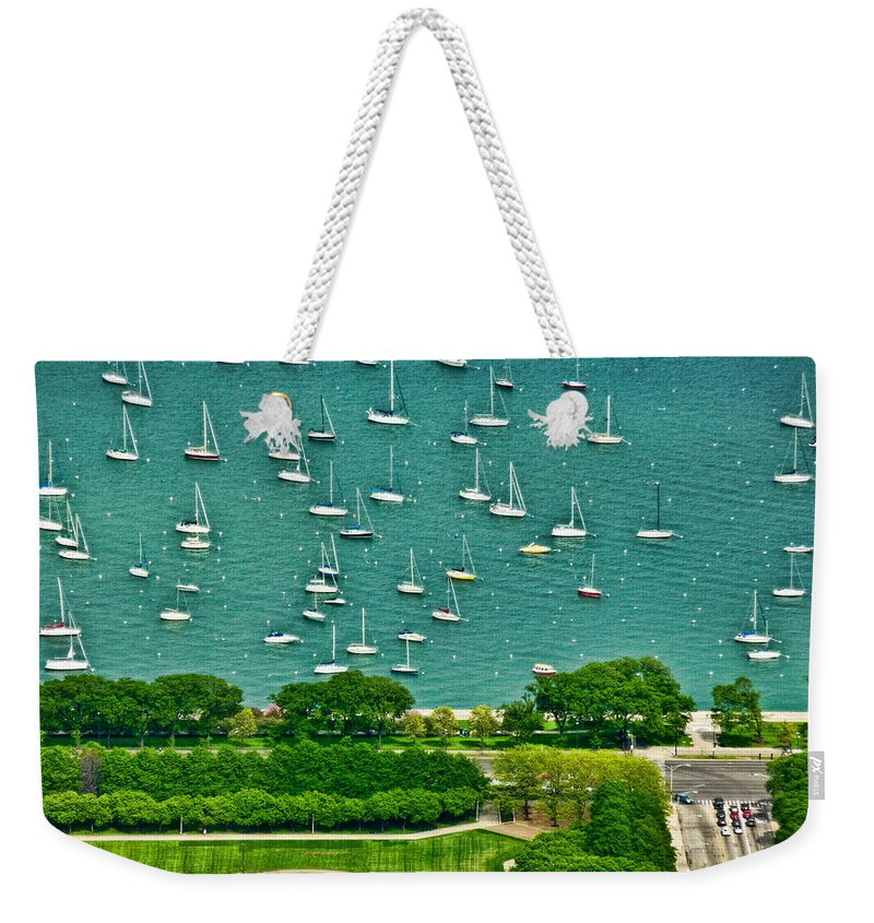 Chicago Weekender Tote Bag featuring the photograph Chicago's Dusable Harbor by Ginger Wakem