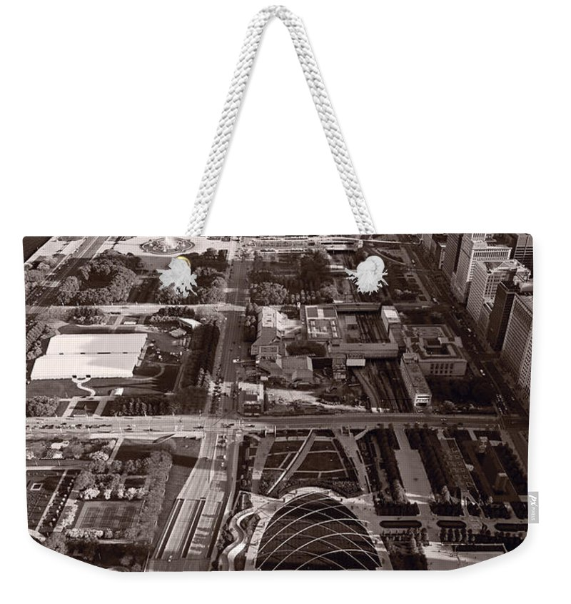 Aerial Weekender Tote Bag featuring the photograph Chicagos Front Yard B W by Steve Gadomski
