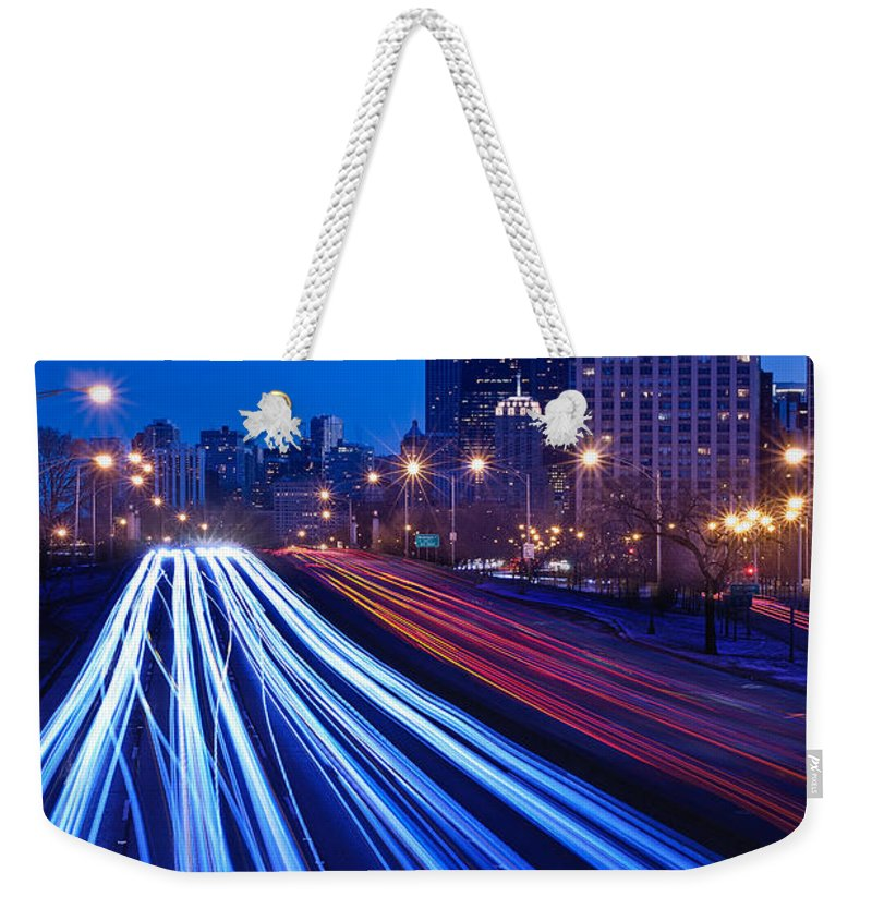 Blue Weekender Tote Bag featuring the photograph Chicagos Lake Shore Drive by Steve Gadomski