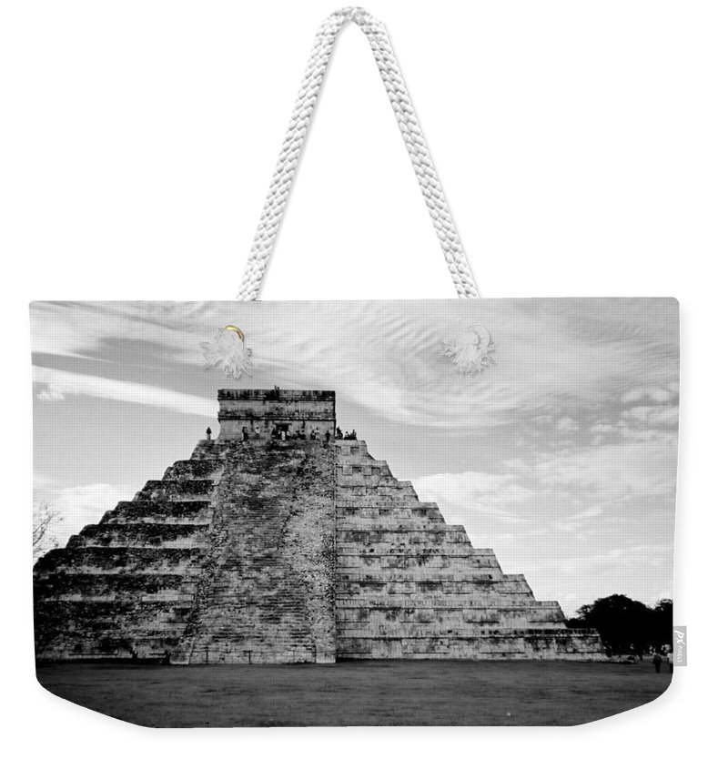 Mexico Weekender Tote Bag featuring the photograph Chichen Itza B-w by Anita Burgermeister