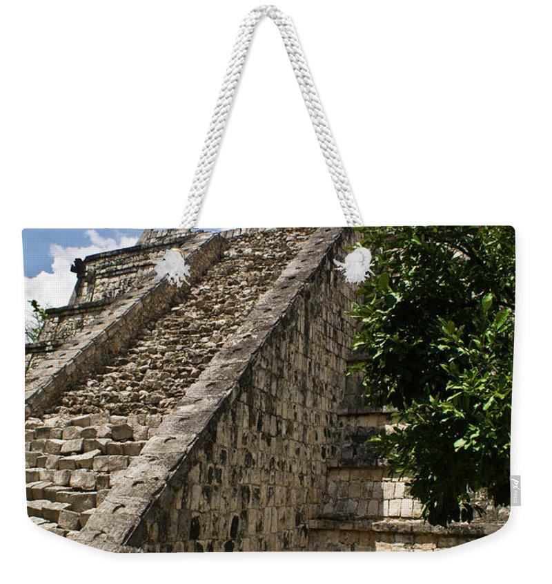 Chichen Itza Weekender Tote Bag featuring the photograph Chichen Itza Pyrmid 1 by Douglas Barnett