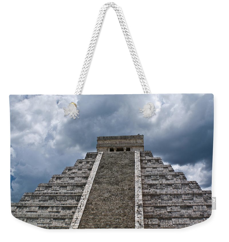 Pyrmid Weekender Tote Bag featuring the photograph Chichen-itza Pyrmid In Mexico by Douglas Barnett