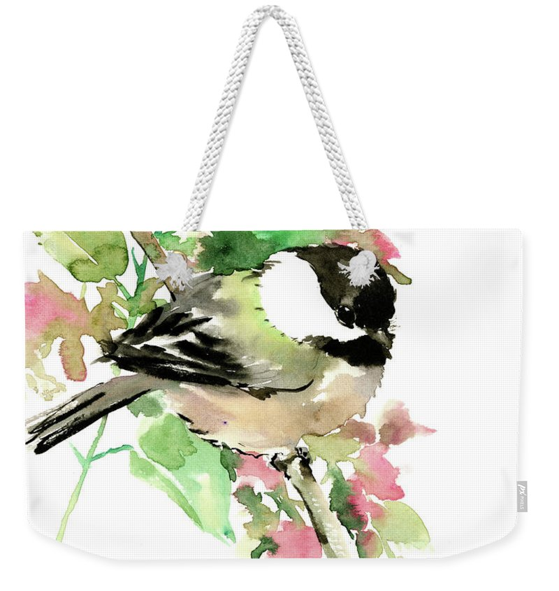 Chickadee Weekender Tote Bag featuring the painting Chickadee And Spring Blossom by Suren Nersisyan