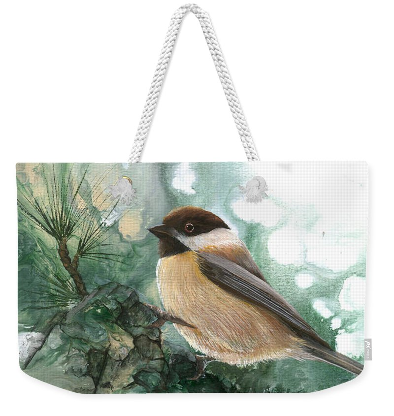Bird Weekender Tote Bag featuring the painting Chickadee by Sherry Shipley