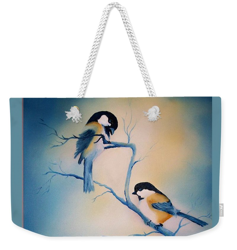 Birds Weekender Tote Bag featuring the painting Chickadees by Leo Gordon