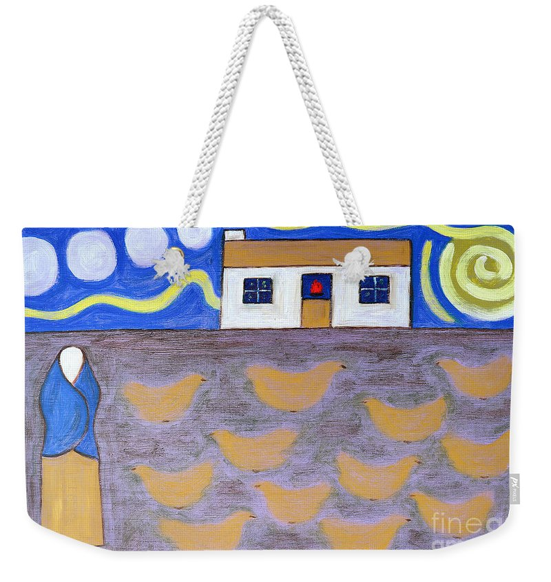Ireland Weekender Tote Bag featuring the painting Chickens by Patrick J Murphy