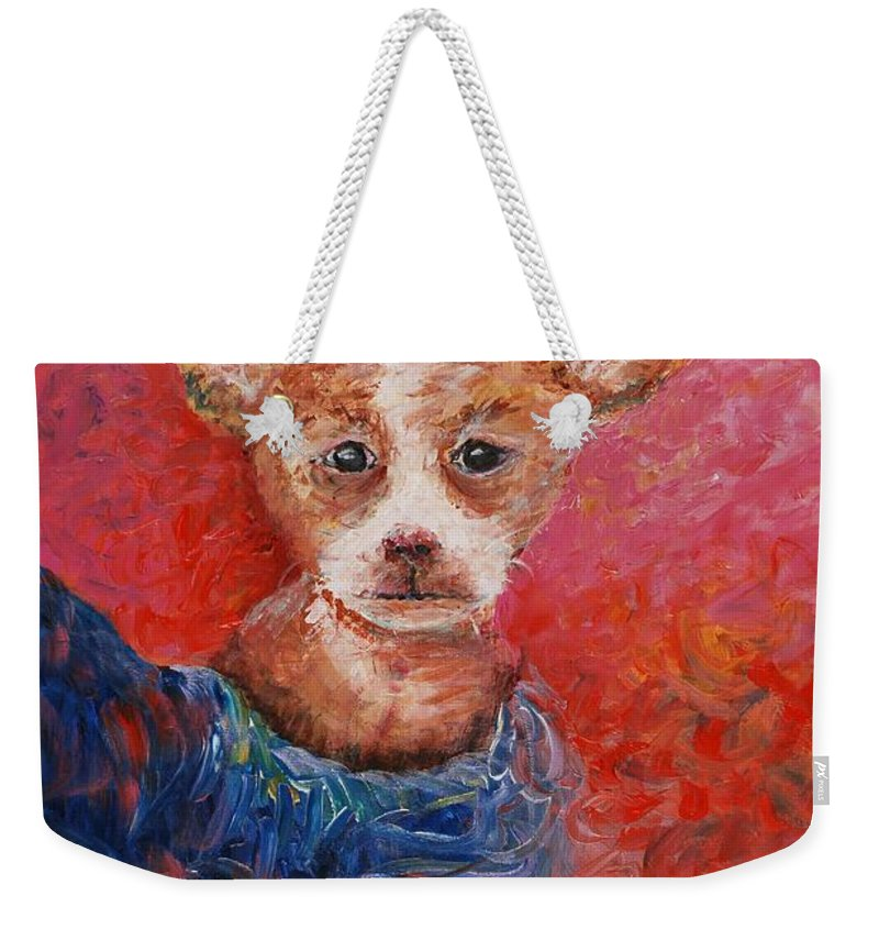 Dog Weekender Tote Bag featuring the painting Chihuahua Blues by Nadine Rippelmeyer