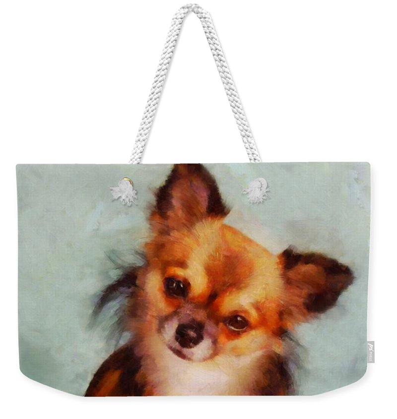 Dog Weekender Tote Bag featuring the painting Chihuahua by Esoterica Art Agency