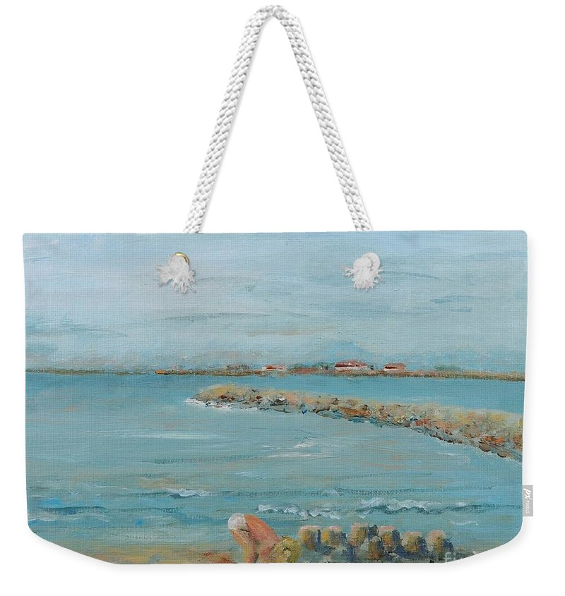 Beach Weekender Tote Bag featuring the painting Child Playing at Provence Beach by Nadine Rippelmeyer