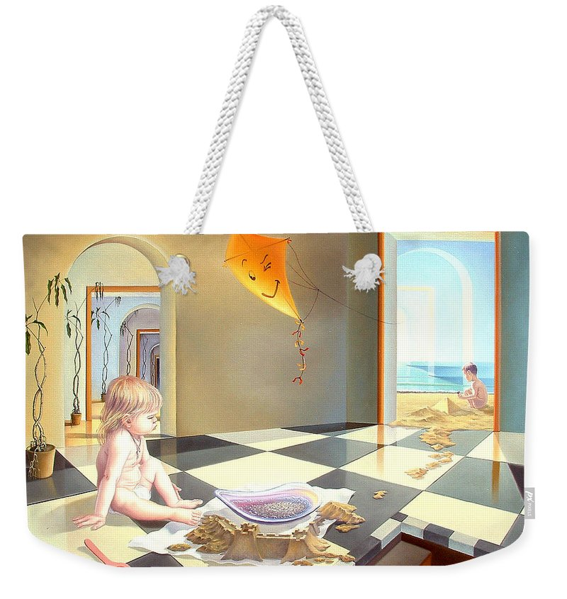 Art Oil Painting Surreal Child Childhood Freedom Weekender Tote Bag featuring the painting Childhood by Gyuri Lohmuller