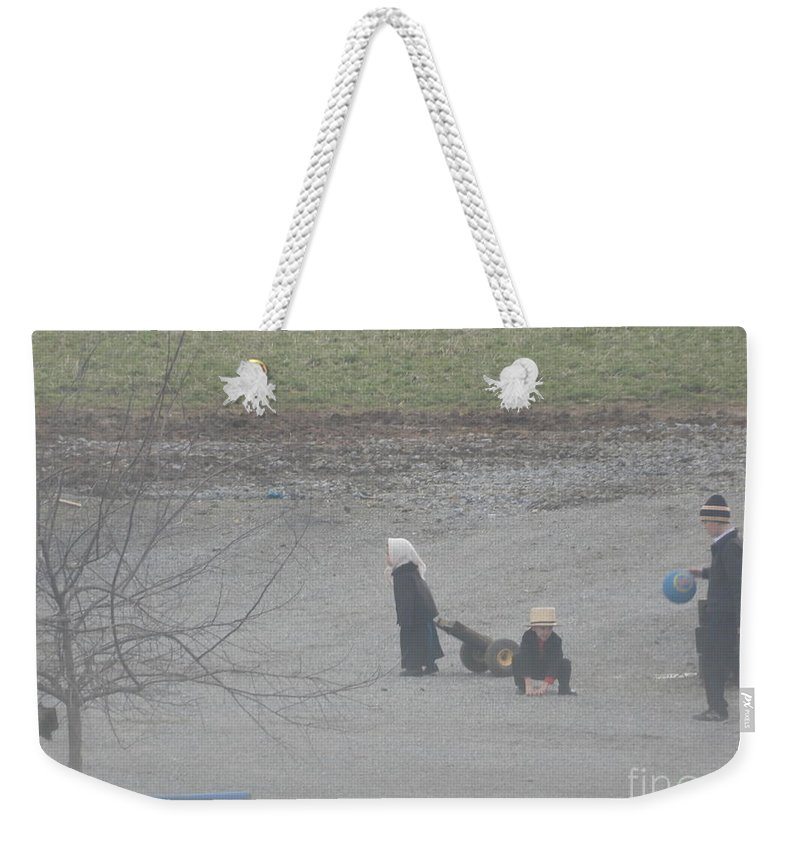 Amish Weekender Tote Bag featuring the photograph Children At Play by Christine Clark