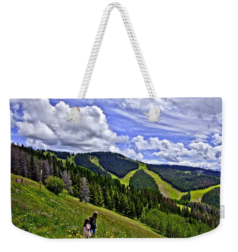 Child Weekender Tote Bag featuring the photograph Children On Vail Mountain by Madeline Ellis