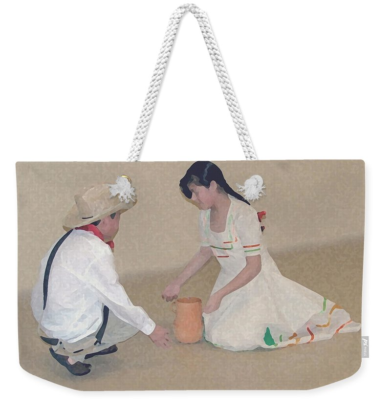 Children Weekender Tote Bag featuring the digital art Children Playing by Robert Meanor
