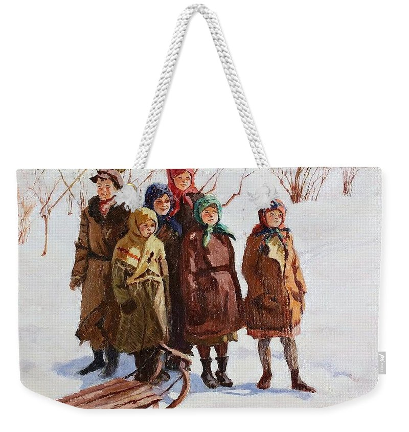 Snow Weekender Tote Bag featuring the digital art Children With A Sled Nikolai Petrovich Bogdanov-belsky by Eloisa Mannion