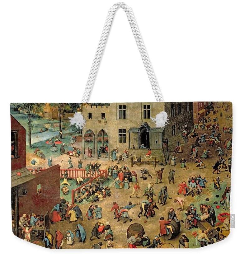 Xir68945 Weekender Tote Bag featuring the painting Children's Games by Pieter the Elder Bruegel