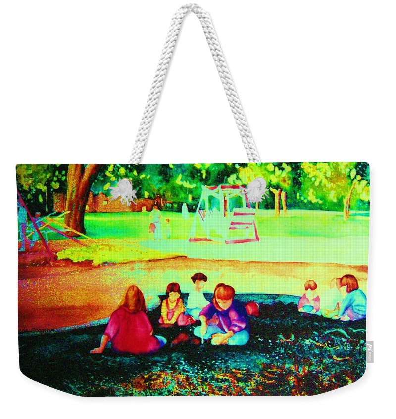 Central Park Weekender Tote Bag featuring the painting Childs Play by Carole Spandau