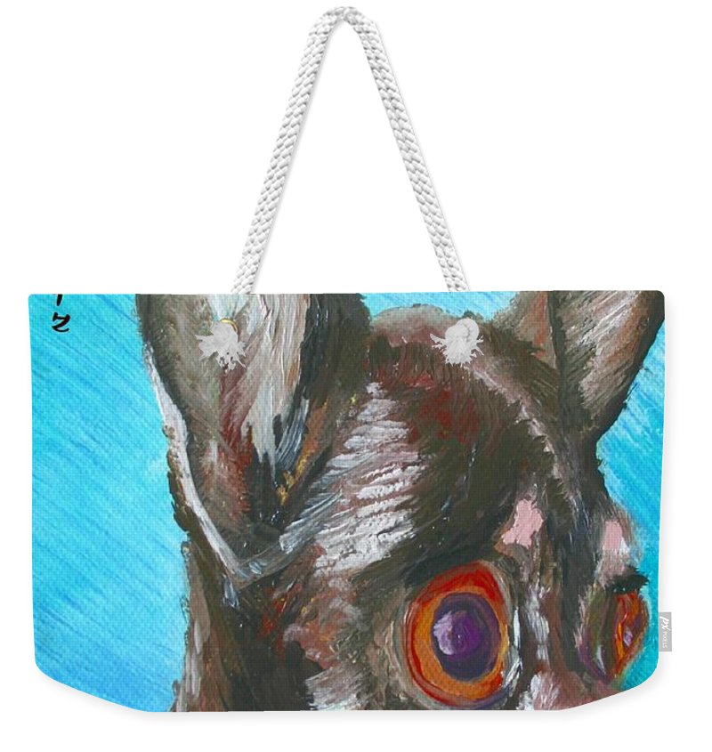 Dog Weekender Tote Bag featuring the painting Chili Chihuahua by Minaz Jantz