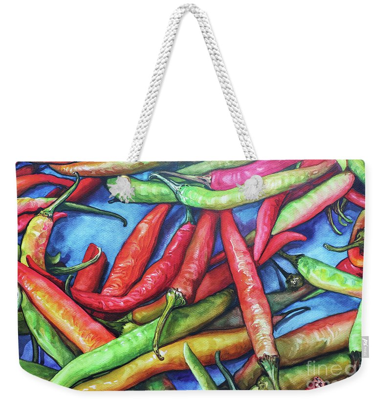 Landscape Weekender Tote Bag featuring the painting Chillis by Win Min Mg