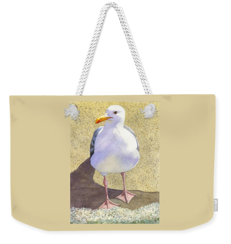 Seagull Weekender Tote Bag featuring the painting Chilly by Catherine G McElroy