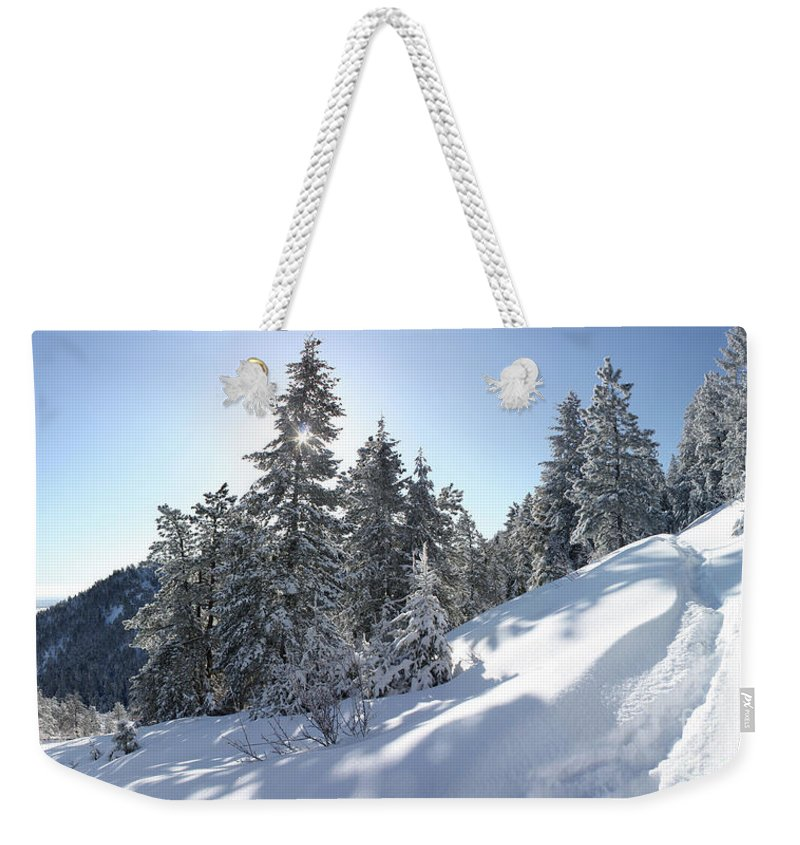 Chimney Gulch Trail Weekender Tote Bag featuring the photograph Chimney Gulch Trail In Winter by Andrew Terrill