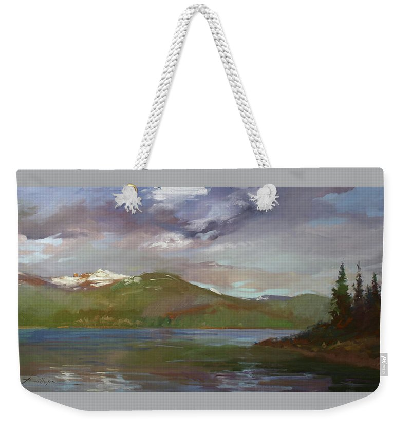 Murals Weekender Tote Bag featuring the painting Chimney Rock At Priest Lake Plein Air by Betty Jean Billups