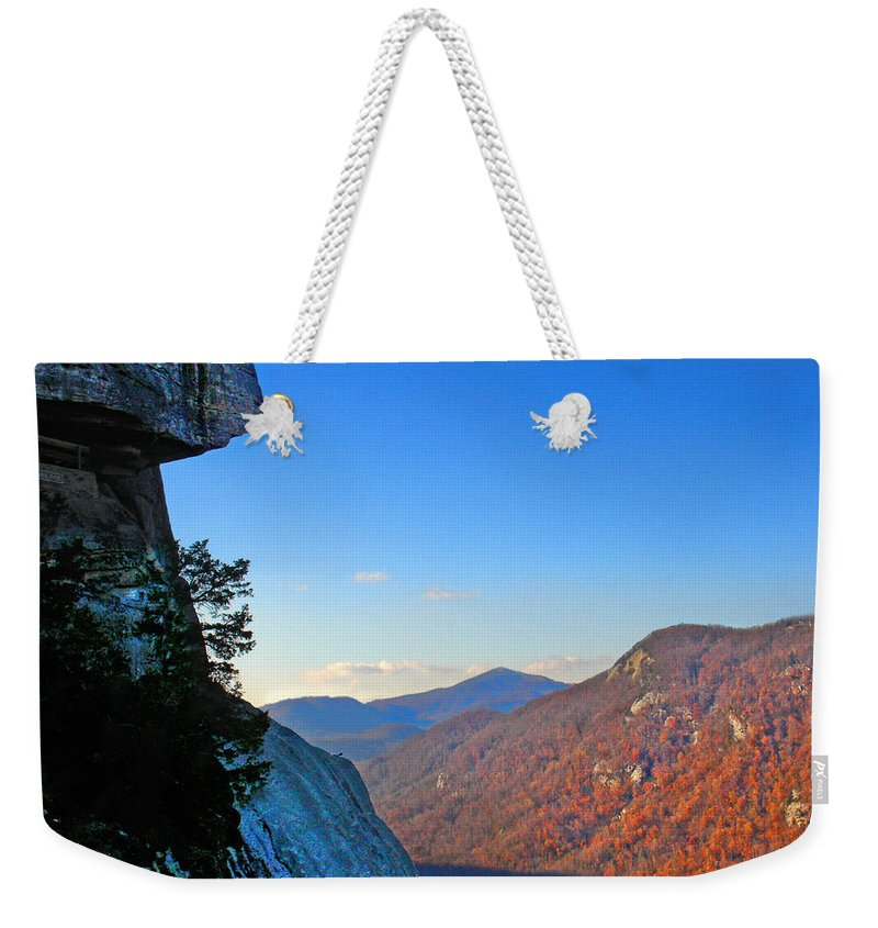 Landscape Weekender Tote Bag featuring the photograph Chimney Rock 2 by Steve Karol