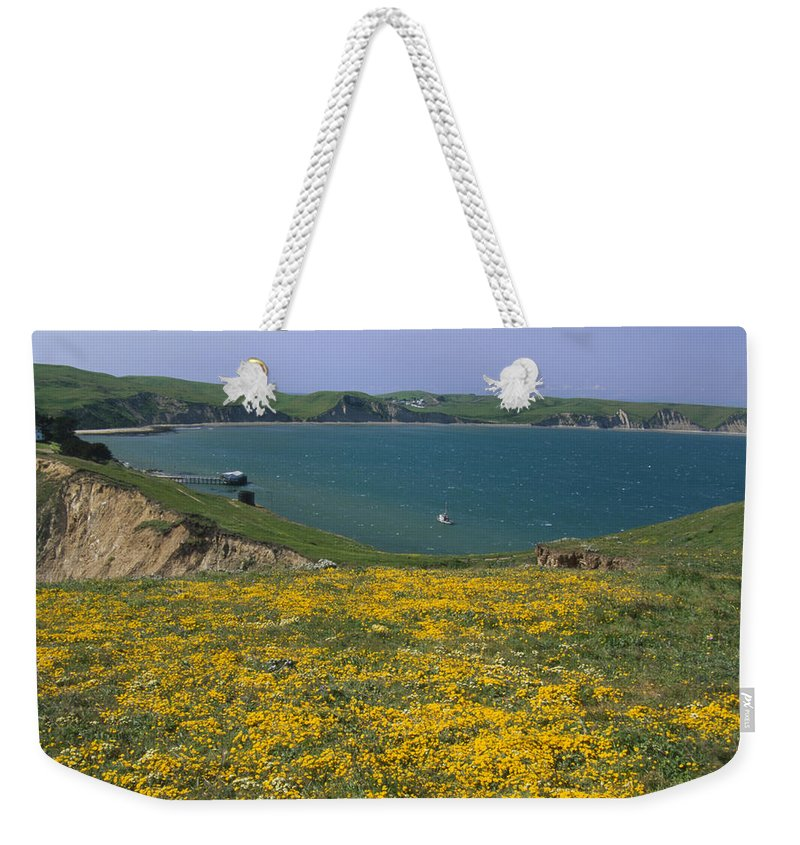 Point Reyes National Seashore Ca. Weekender Tote Bag featuring the photograph Chimney Rock Trail And Drakes Bay by Soli Deo Gloria Wilderness And Wildlife Photography