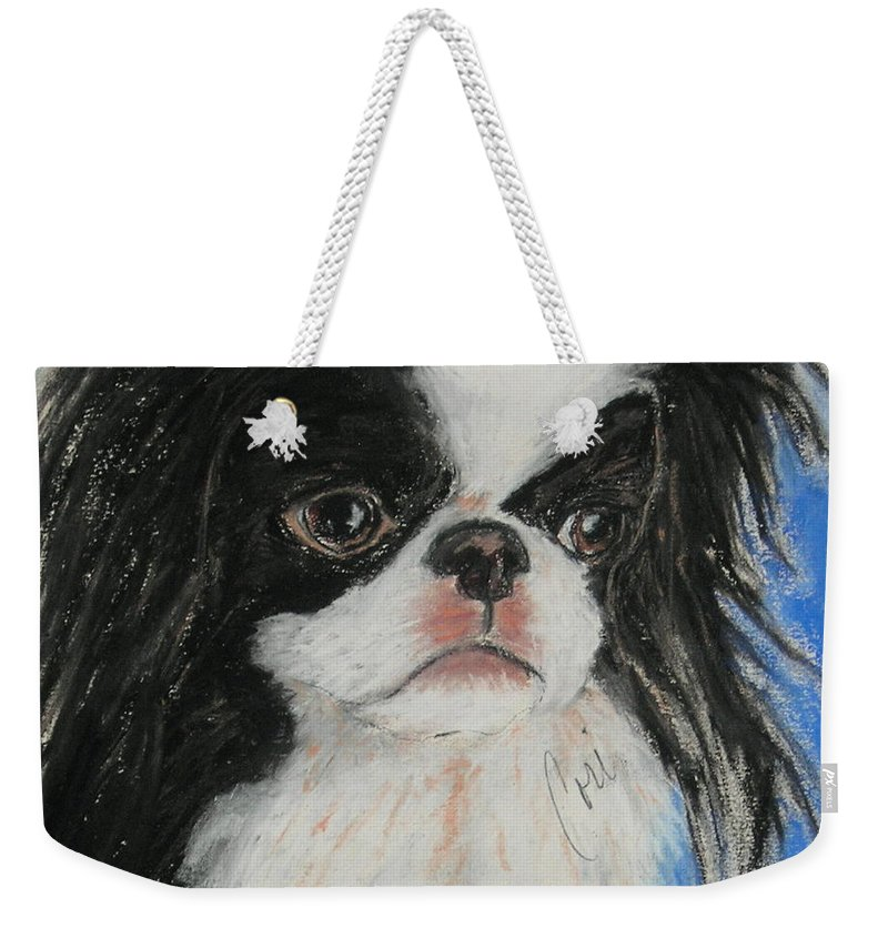 Japanese Chin Weekender Tote Bag featuring the drawing Chin-sational by Cori Solomon