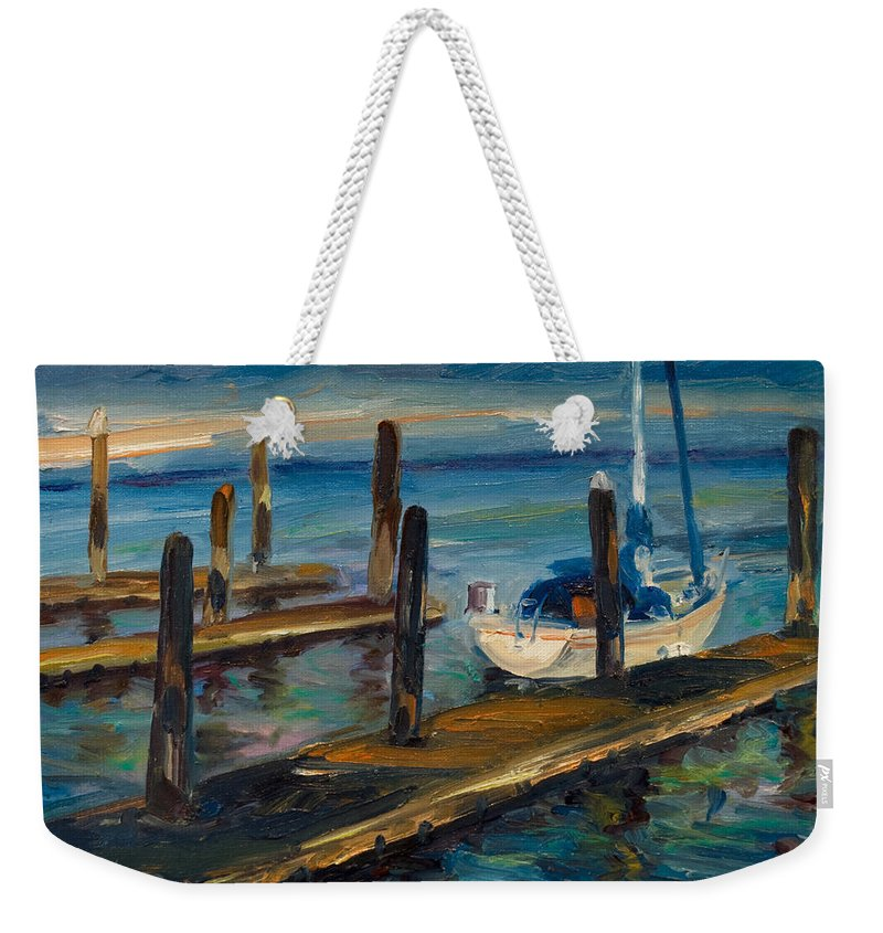 Marina Weekender Tote Bag featuring the painting China Basin Docks by Rick Nederlof