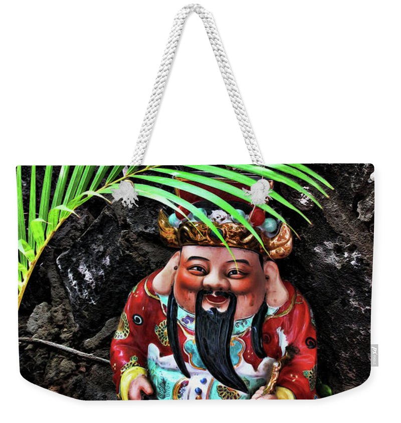 Gnome Weekender Tote Bag featuring the digital art China Boat Gnome by Joan Minchak