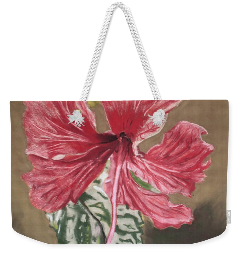 Flower Weekender Tote Bag featuring the painting China Rose by D Turner