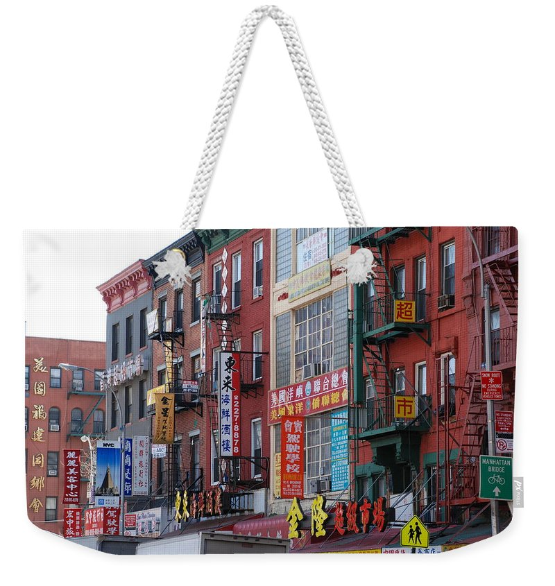 Architecture Weekender Tote Bag featuring the photograph China Town Buildings by Rob Hans