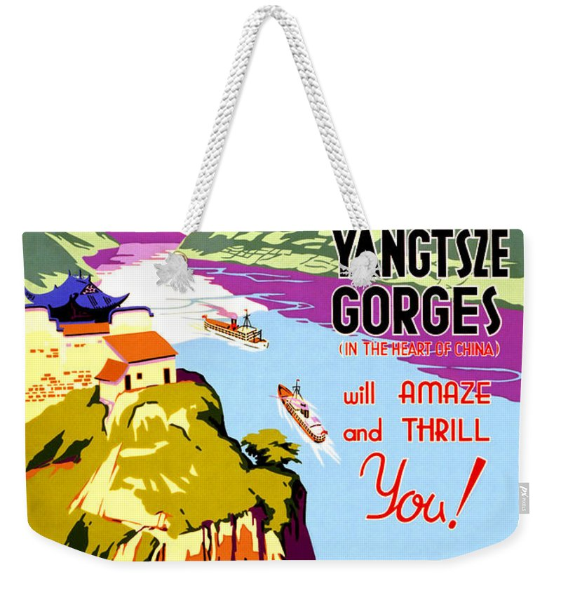 China Weekender Tote Bag featuring the painting China, Yangtze River Cruise by Long Shot