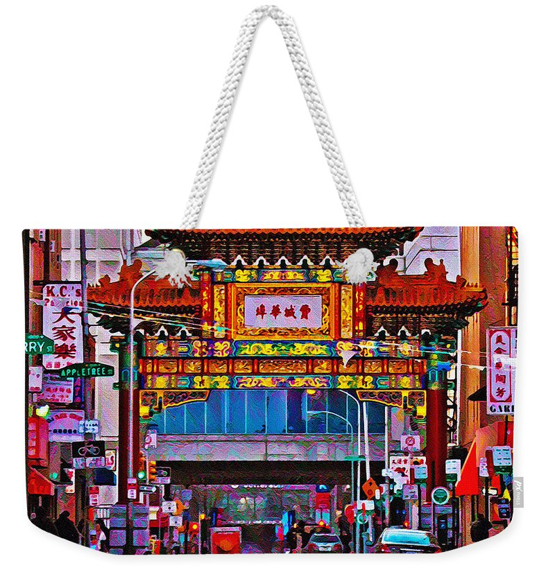 Chinatown Arch Philadelphia Weekender Tote Bag featuring the photograph Chinatown Arch Philadelphia by Bill Cannon